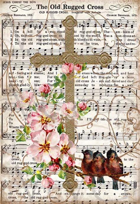 gospel song rugged cross items similar to rugged cross bird flowers christian hymn digital image
