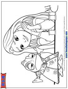rapunzel looking at pascal in dress coloring page h amp m