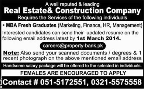 Mba In Construction Management In Pakistan mba fresh graduates in rawalpindi 2014 february at