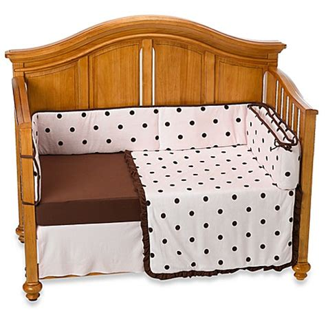 Polka Dot Crib Bedding Sets Tl Care 174 Espresso Polka Dot 4 Crib Bedding Set In Pink Bed Bath Beyond