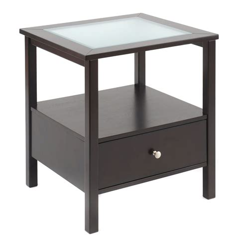 Bay Shore Collection End Table With Glass Insert Top And Living Room End Tables With Drawers