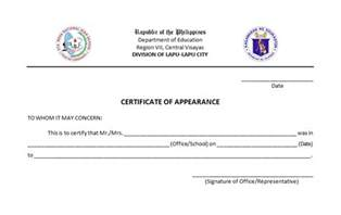 certificate of appearance template my is a