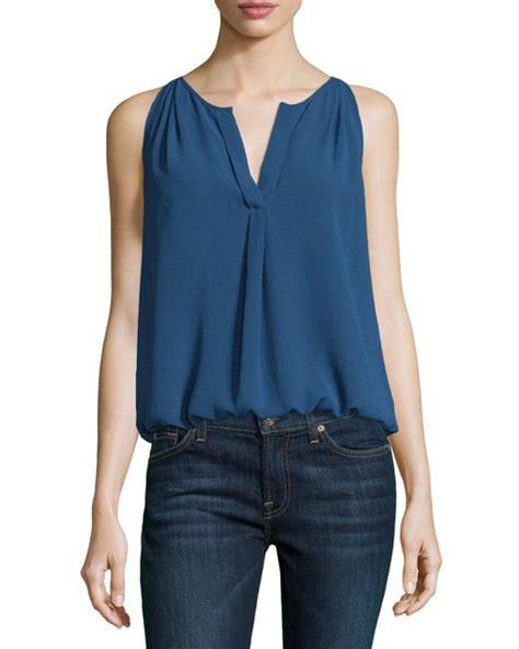 Now Blue Butterfly Sleeve Split Neck Blouse max studio pleated split neck sleeveless blouse in black blue save 45 lyst