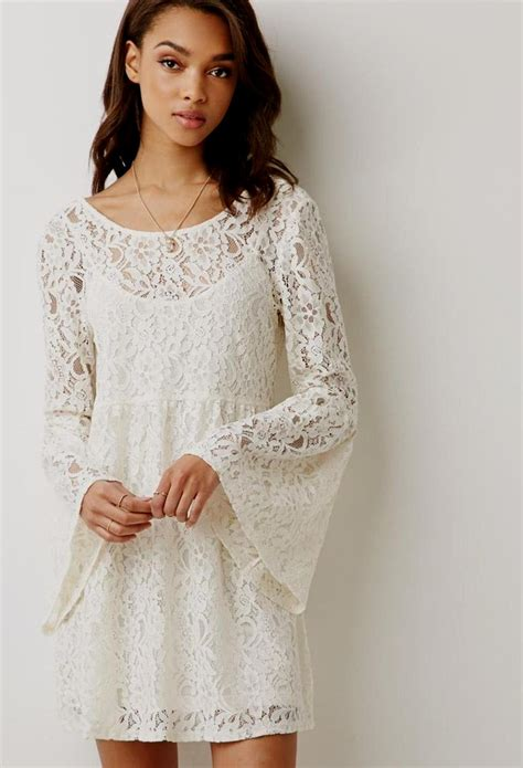 White Lace Sleeved Dress white sleeve lace dress forever 21 naf dresses