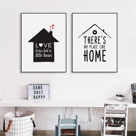 black white nordic minimalist houses quotes a4 canvas print poster wall picture