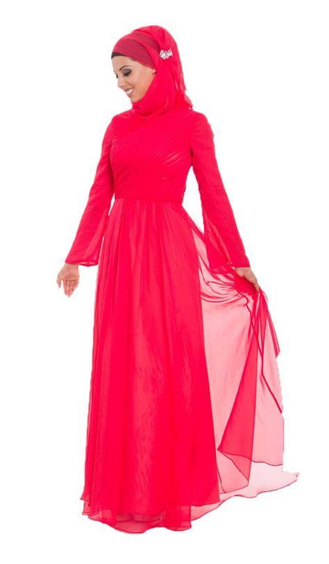 muslim long dress 2014 2015 fashion new arrival long sleeves red chiffon caftan