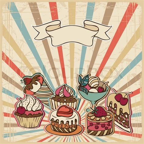 Vector background with of cake in retro style Vintage card
