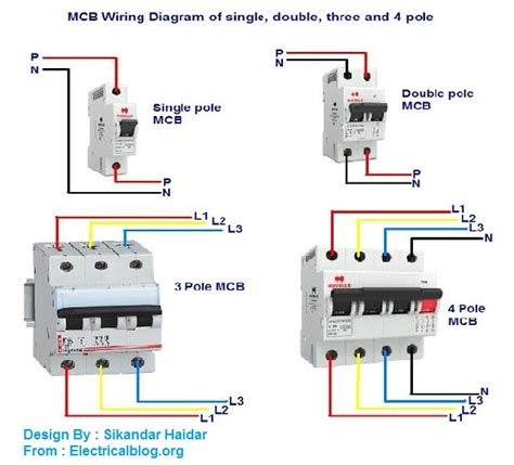 mcb wiring connection diagram for single three