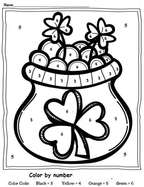 preschool coloring pages for march color by number st patrick s day worksheet 1 crafts