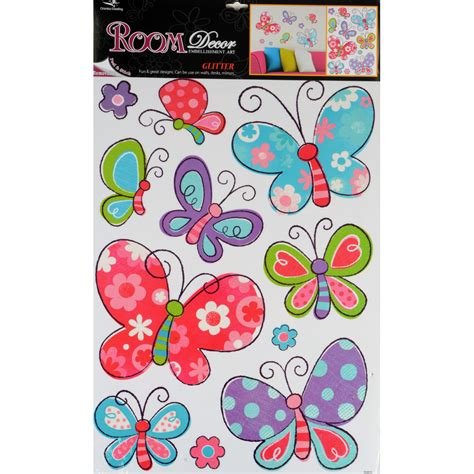 glitter wall stickers 2 sets of glitter room decor wall stickers butterfly ebay