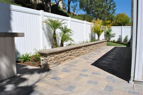 patio wall planters paver patio with stone veneer seat wall planter