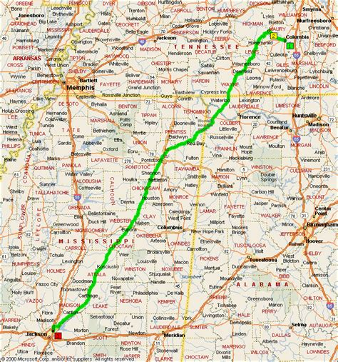 jackson ms map day 41 map columbia tn to jackson ms