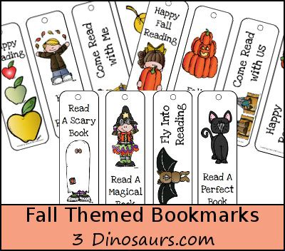 printable bookmarks fall free fall bookmarks for kids 3 dinosaurs