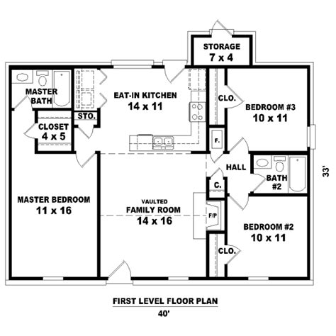 Ranch Style House Plan 3 Beds 2 Baths 1138 Sq Ft Plan Ranch House Plans No Garage Three Bedrooms