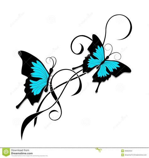 tribal azul do preto da tatuagem da borboleta imagens de