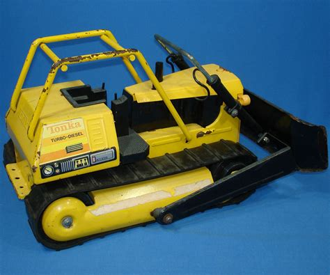 vintage tonka truck tonka mighty turbo diesel bulldozer pressed steel metal