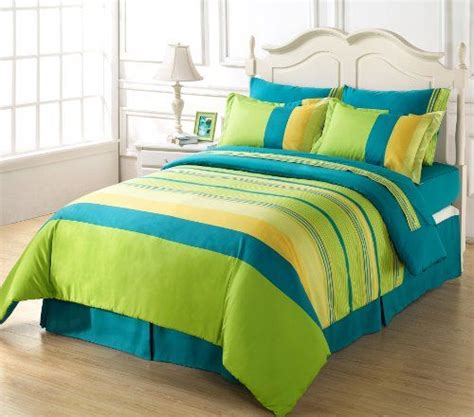 green and yellow comforter chezmoi collection 8 piece soft blue green yellow striped
