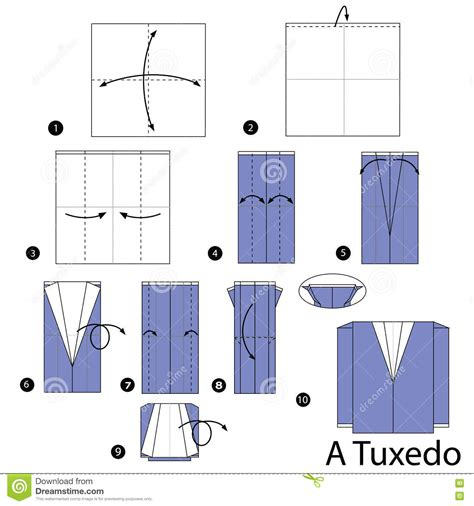 How To Make A Paper Jacket - origami tuxedo vector illustration cartoondealer