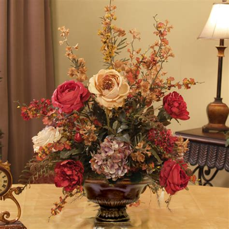 Flower Arrangements Home Decor Burgundy Gold Silk Arrangement Ar217 155 Floral Home Decor Silk Flowers Silk Flower