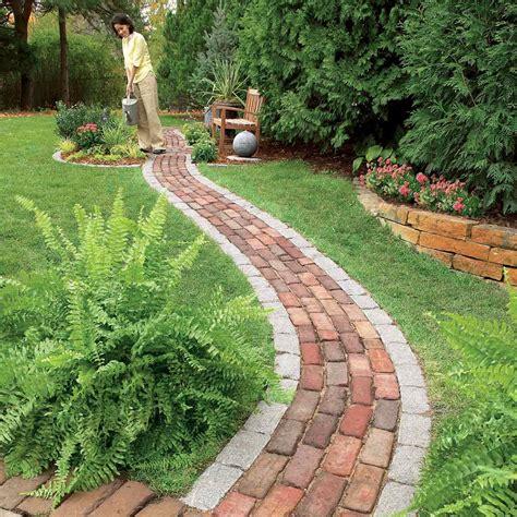 bricks garden pics build a brick pathway in the garden the family handyman