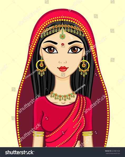 cartoon indian princess dress animation indian princess traditional suit gold stock