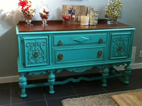 turquoise painted antique buffet furniture pinterest