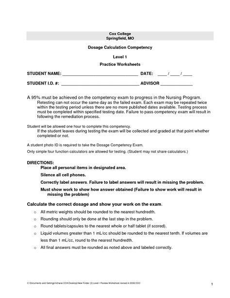 Dosage Calculation Worksheet