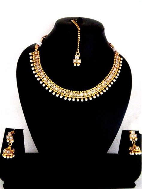 indian fashion jewelry bollywood necklace earring gold
