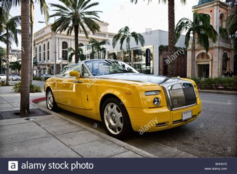 yellow rolls royce banana yellow rolls royce convertible stock photo royalty