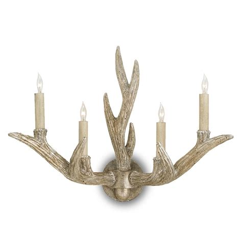 Antler Wall Sconce Casteret Rustic Lodge Antique Silver Antler 4 Light Wall Sconce Kathy Kuo Home