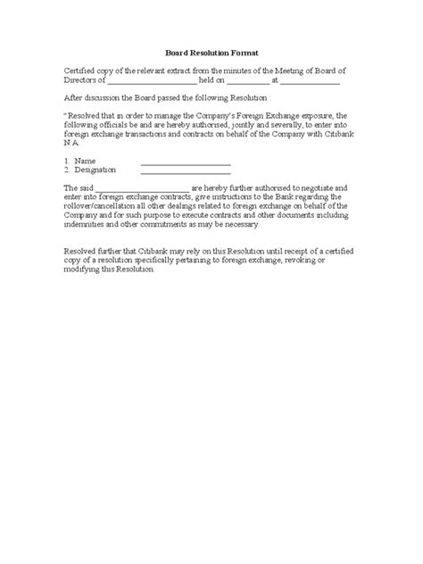 board resolution template   templates   word
