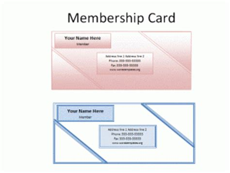 membership club card template printable membership card template free word s templates