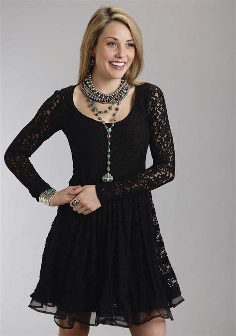 Hem Foxy Black Stretch stetson 174 black stretch lace organza ruffled hem sleeve western dress