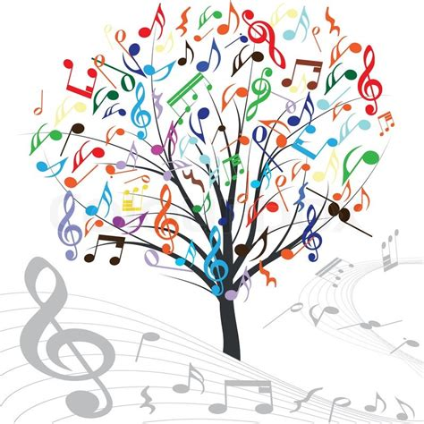 music tree hearts note symbol vector on wave lines design