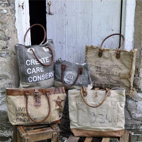 Live Work Linen Shopper Bag upcycled canvas bag mona b vintage st fringe tote