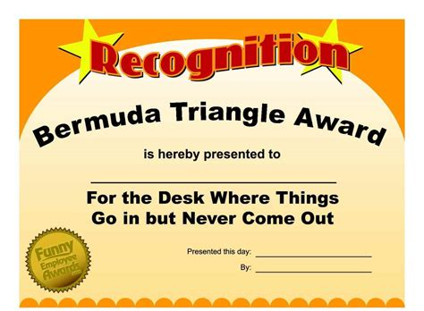 free silly card template office awards printable template update234