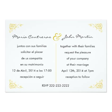 Bilingual English Spanish Wedding Invitation Zazzle Com Bilingual Wedding Invitation Templates