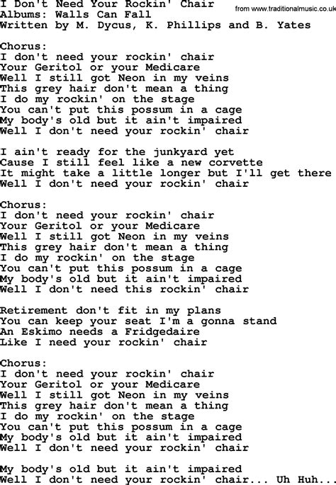 Z Chair Lyrics by I Don T Need Your Rockin Chair By George Jones Counrty
