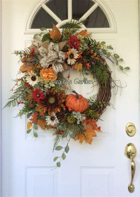 fall wreath fall wreath  front door hydrangea wreath autumn