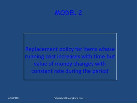 Mba Production Management by Replacement Theory Mba Production Management