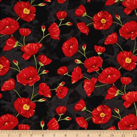 pattern for fabric poppy poppy celebration trailing poppies red black wilmington