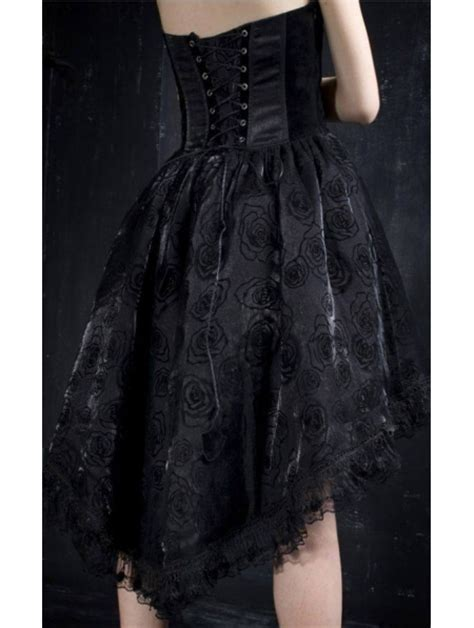 pattern gothic dress black halter floral pattern high low gothic party dress