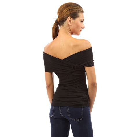V Neck Shoulder Top womens v neck cross shoulder fitted blouse shirt evening top ebay