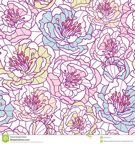 flower pattern line vector colorful line art flowers seamless pattern stock photos