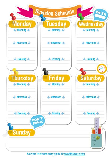 visual communication and design exam revision blank revision timetable template tutoring pinterest
