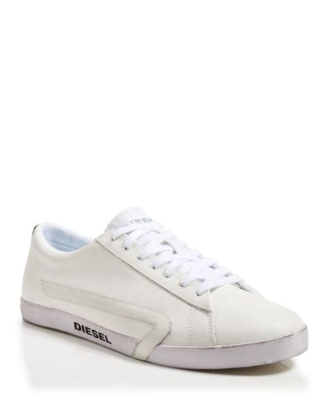 white mens sneakers lyst diesel rikklub bikkren sneakers in white for