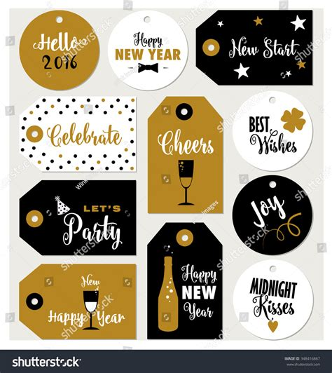printable new year tags set of new year gift tags typographic vector design with