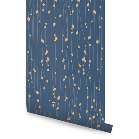 removable wallpaper navy blue leaves blue peel and stick fabric wallpaper repositionable