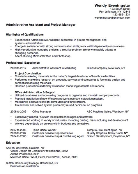 Resume Exles Administrative Assistant Position Resume Admin Assistant Project Manager Susan Ireland Resumes