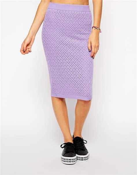 asos co ord crochet pencil skirt in purple lyst